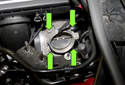 Remove four 10mm throttle body fasteners (green arrows).