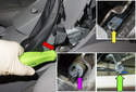 Once you adjust both rear parking brake shoe adjuster, release the service lock by pressing it using your flathead screwdriver (red arrow) and unhooking it from the hook (purple arrow).