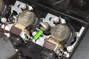 6-cylinder engine: With the cover removed, inspect the mounting insulators.
