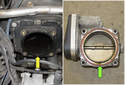 Before installing a new throttle housing, clean the sealing surface on the intake manifold (yellow arrow).