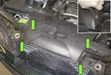 Working at the fresh air intake, remove the four plastic rivets (green arrows).