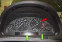 The instrument cluster (red arrow) on BMW E53 models is serviced as a whole unit.