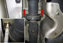 Working at the driveshaft support bearing, mark the location of the driveshaft center support bearing (inset).