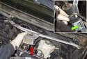 Lift the wiper assembly up and slide it out of the cowl far enough to access the electrical connector (red arrow).