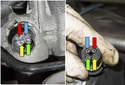 Testing Coolant Temp Sensor: This photo shows the coolant sensor electrical and electrical connector pins.