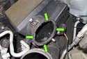 Once the mass air flow meter is removed, check that the O-ring is in good shape and not worn or swollen.