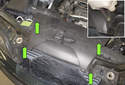 8-cylinder engine: Working at the fresh air intake, remove the four plastic rivets (green arrows).