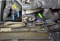 To release the tension, locate the tensioner (green arrow).