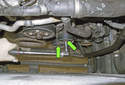 Accessory belt tensioner pulleys: To replace the pulleys, remove the T50 Torx fasteners (green arrows).