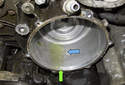 Be sure to clean any debris (blue arrow) out of the housing before installing the new alternator.