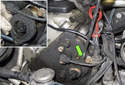 Right Side Seal: Once you have removed the fasteners, use a flathead screwdriver to gently lever the seal out of the timing cover (green arrow).