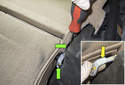 Rear Seat: With the side cushions removed, fold the seat back down.