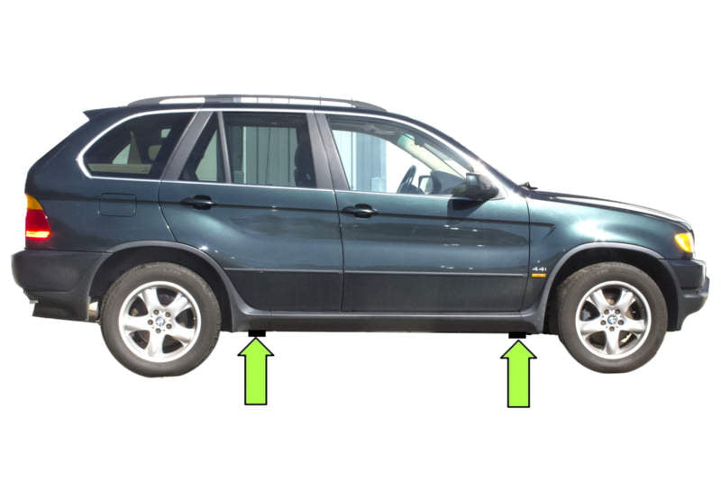 BMW X5 Models Have Four Solid Plastic Jacking Pads, Slightly Behind The  Front Wheels And