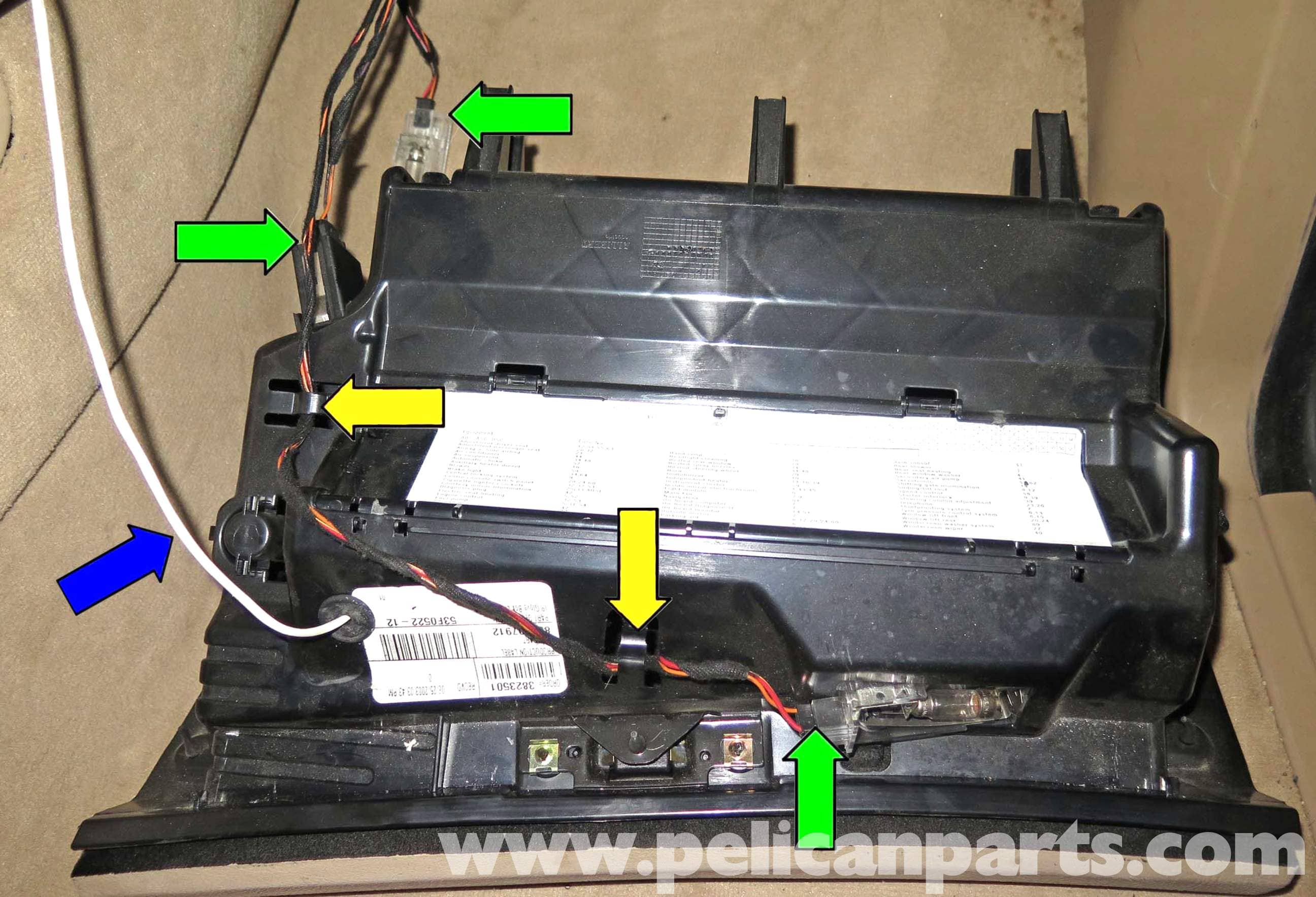 Pelican Technical Article Bmw X5 Glove Box Removal Fuse Diagram Mercedes C300 Large Image