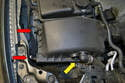 Unplug the breather hose (yellow arrow) going in to the side of the air box cover.