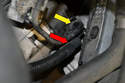 You can see the battery cable (red arrow) and electrical connector (yellow arrow) connected in the engine bay.