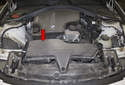 The air filter is located in the air filter housing (red arrow), it is mounted in the right side of the engine compartment inside the intake air housing.