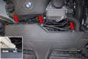 Unclip the hose from the intake air housing (red housing) and lay it aside.