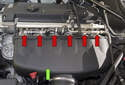 Intake system (green arrow) (S54 engine): The M Roadster / M Coupe engine is equipped with six separate throttle assemblies (red arrows) (one per cylinder) actuated electromechanically.