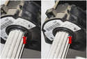 Push the small tab (red arrows) as you slide the sensor off the shaft.