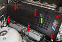 Remove the six 10mm engine cover fasteners (red arrows).