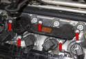 Remove the five 10mm crankcase breather valve fasteners (red arrows).