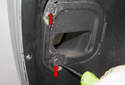 Front liner: Working at the front corner of the liner, rotate the brake duct locks 180 degrees to unlock (red arrows).