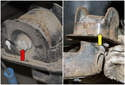 Remove the 18mm trailing arm mounting bracket fastener (red arrow).