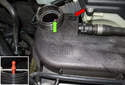 Filling cooling system: Remove the expansion tank bleeder screw (red arrow).