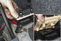 Slide the battery junction toward the rear bumper (red arrow) and lift it up to detach the locking clips (inset).