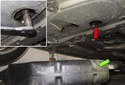 Open the oil drain plug access door, if equipped.