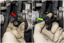 Bank 1: Pull the knock sensor out from behind the other engine components enough to access the electrical connector (red arrow).