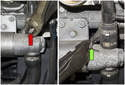 Start by removing the upper hose clamp using diagonal pliers (red arrows).