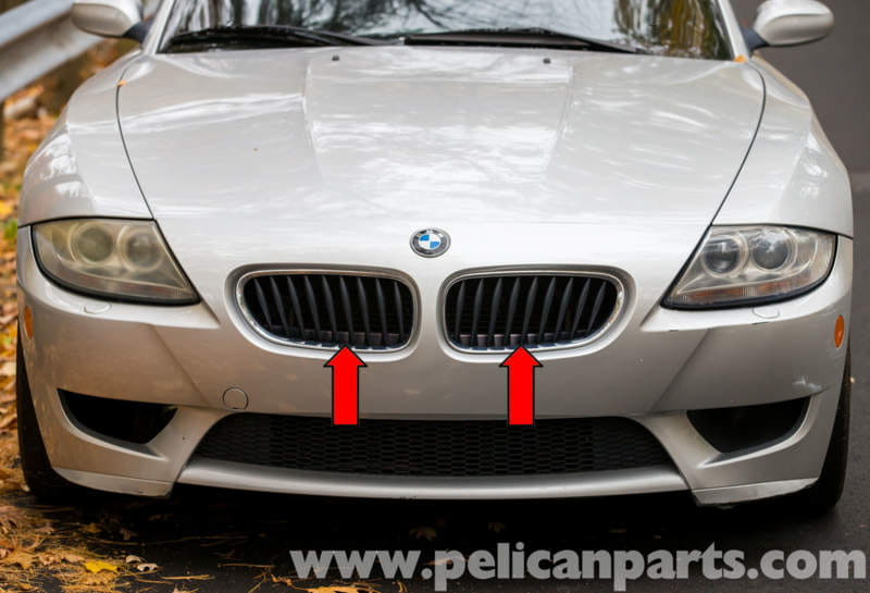 Bmw z4 m radiator grill replacement 2003 2006 pelican parts the radiator grilles consist of two grilles red arrows mounted in the radiator support sciox Images