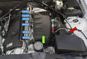 On the 6-cylinder S54 engine installed in BMW Z4 vehicles, the molded plastic intake manifold or intake plenum (green arrow) mounts between the six individual throttle bodies and the intake air housing.