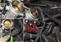Working under the cylinder six throttle body, remove the three 10mm wiring harness bracket nuts (red arrows).