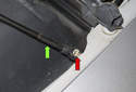Hood Support Struts: Then pull the lower socket (green arrow) off the stud (red arrow) and remove from the vehicle.