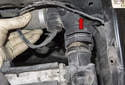 Pull the hose off the radiator toward the engine (red arrow).