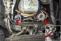 Turn Signal Bulbs: The turn signal bulbs (red arrows) are located in the headlight assembly, mounted in the bottom corners.