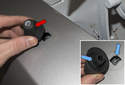 Once the fastener is loose, remove the antenna base (red arrow) from the fender.