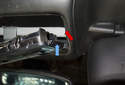 When installing, insert the right side first insuring the lip (blue arrow) is above the headliner (red arrow).