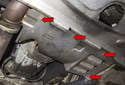 To remove transmission splash shield: Working under vehicle, using an 8mm socket or nut driver, remove the four splash shield fasteners (red arrows).