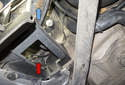 Rear sensor: The connector is located behind the wheel well liner (red arrow).