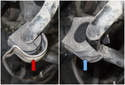 Front: Next, remove the sway bar bushing bracket (red arrow).
