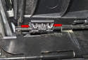 To unclip the two stowage base height adjuster clips, squeeze the tabs (red arrows) and remove from above.