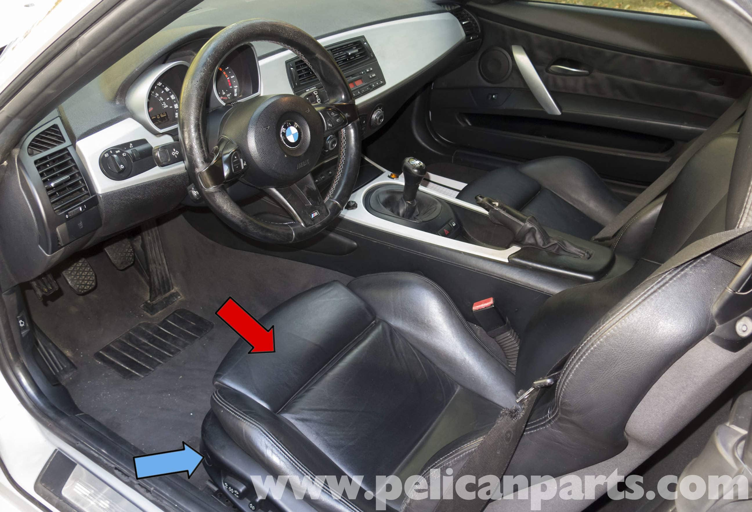 bmw z4 m seat removal 2003 2006 pelican parts diy maintenance on Matte Black BMW Z4 2005 for bmw z4 seat wiring #2 at 2014 Z4 Interior