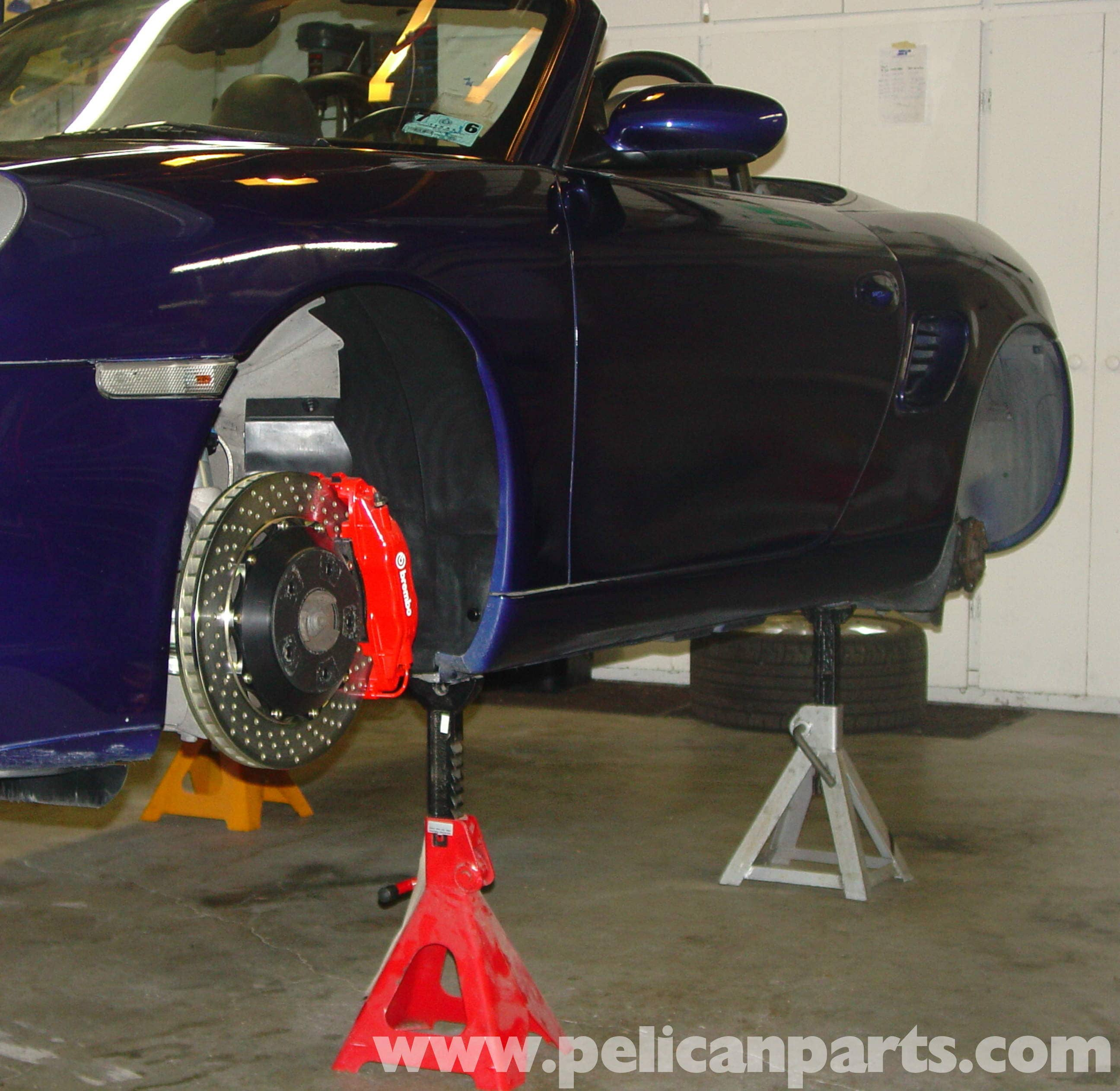 jacking up and lifting the porsche boxster on jack stands | 986