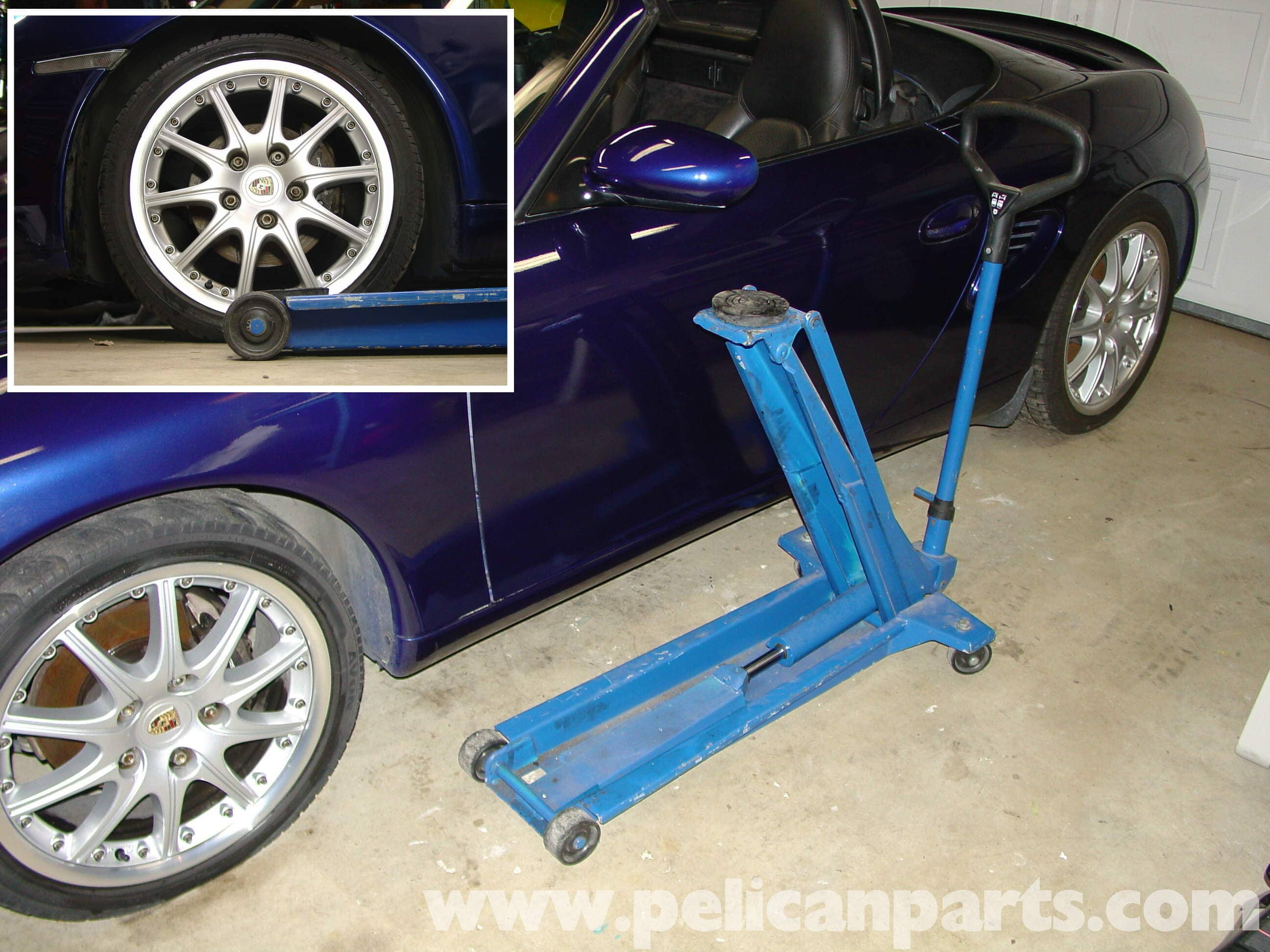 Jacking Up And Lifting The Porsche Boxster On Jack Stands
