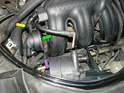 With the engine compartment lid open, it's fairly easy to gain access to the air-oil separator connections.