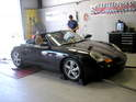 This photo shows Gary Hand's supercharged Porsche Boxster getting ready for the dyno.